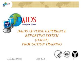 DAIDS Adverse Experience Reporting System DAERS Production Training