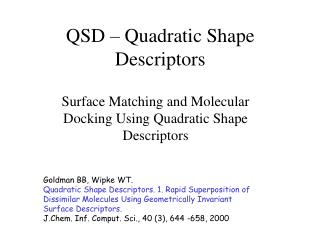QSD   Quadratic Shape Descriptors