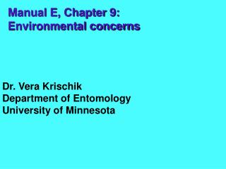 Manual E, Chapter 9: Environmental concerns