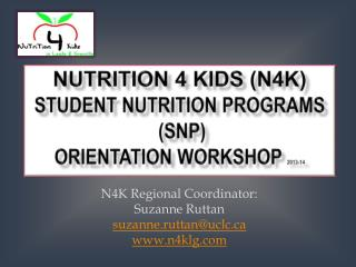 Nutrition 4 Kids N4K  Student Nutrition Programs SNP Orientation Workshop
