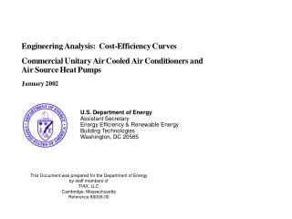 U.S. Department of Energy Assistant Secretary Energy Efficiency  Renewable Energy Building Technologies Washington, DC 2