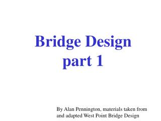 Bridge Design  part 1