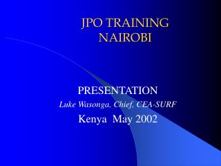 JPO TRAINING NAIROBI
