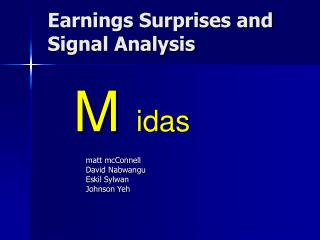 Earnings Surprises and Signal Analysis