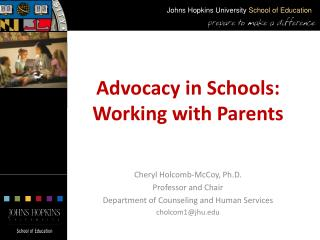 Advocacy in Schools: Working with Parents