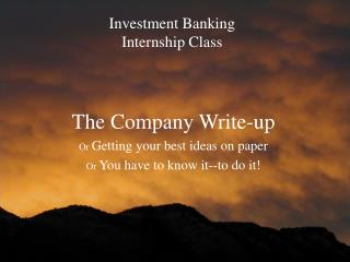 Investment Banking  Internship Class