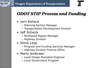 ODOT STIP Process and Funding