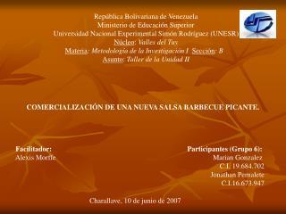 Rep blica Bolivariana de Venezuela Ministerio de Educaci n Superior Universidad Nacional Experimental Sim n Rodr guez UN