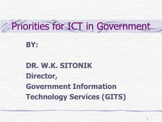 Priorities for ICT in Government