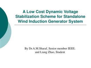 A Low Cost Dynamic Voltage Stabilization Scheme for Standalone Wind Induction Generator System
