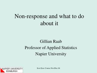 Non-response and what to do about it