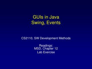 GUIs in Java Swing, Events