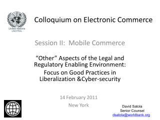 Colloquium on Electronic Commerce
