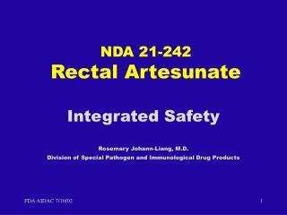 NDA 21-242 Rectal Artesunate