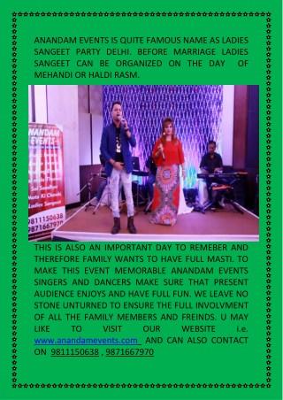 Ladies sangeet party delhi