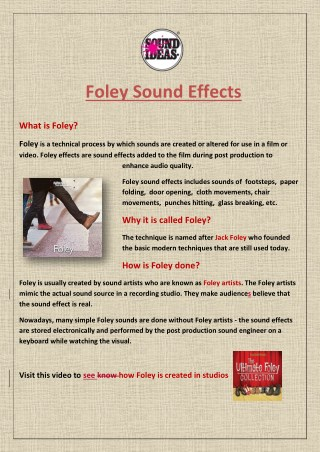Foley Sound Effects: History, Production and Use