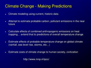 Climate Change - Making Predictions