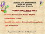 FORMATION LICENCE LMD