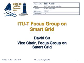 ITU-T Focus Group on  Smart Grid