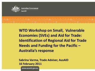 WTO Workshop on Small,  Vulnerable Economies SVEs and Aid for Trade: Identification of Regional Aid for Trade Needs and