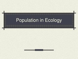 Population in Ecology