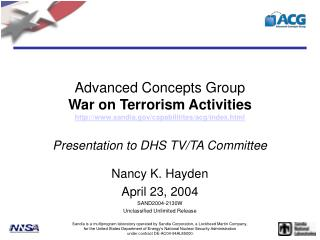 Advanced Concepts Group War on Terrorism Activities sandia