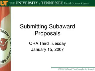 Submitting Subaward Proposals