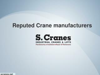 Reputed Crane manufacturers