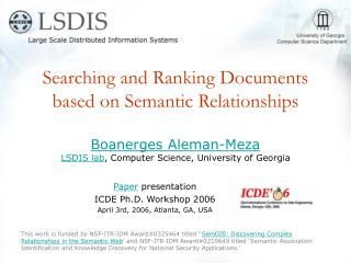 Searching and Ranking Documents based on Semantic Relationships