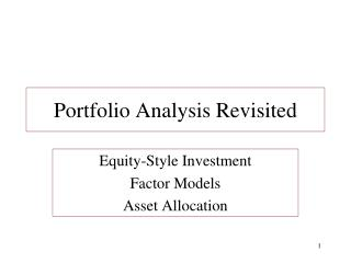 Portfolio Analysis Revisited