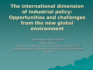 The international dimension of industrial policy: Opportunities and challenges from the new global environment
