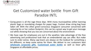 Get Customized Water Bottle from Gift Paradize Intl