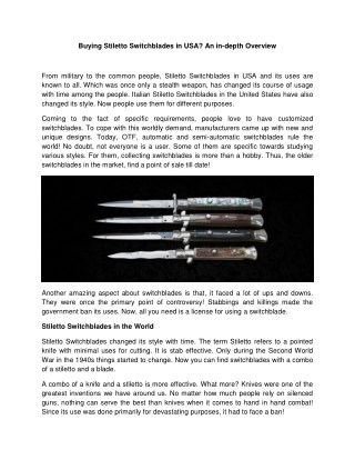 Buying Stiletto Switchblades in USA? An in-depth Overview