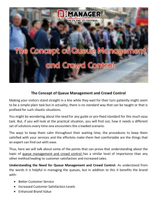 The Concept of Queue Management and Crowd Control