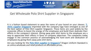 Get wholesale polo shirt supplier in Singapore | Uniform Standard