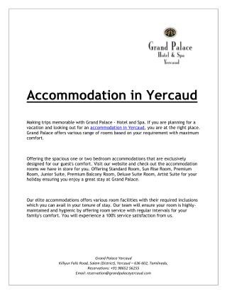 Accommodation in Yercaud