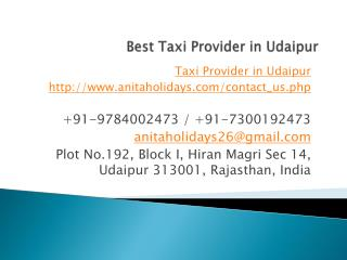 Best Taxi Provider in Udaipur