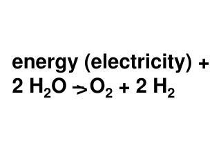 Energy electricity  2 H2O   O2  2 H2