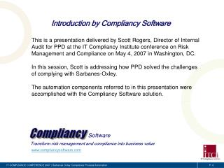 IT COMPLIANCE CONFERENCE 2007  Sarbanes Oxley Compliance Process Automation