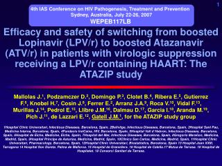 Efficacy and safety of switching from boosted Lopinavir LPV