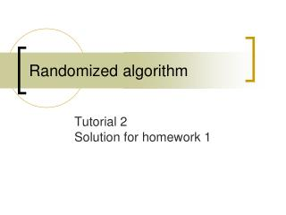 Randomized algorithm
