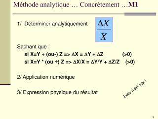 M thode analytique   Concr tement  M1