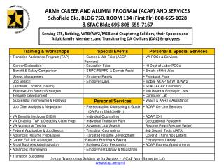 ARMY CAREER AND ALUMNI PROGRAM ACAP AND SERVICES Schofield Bks, BLDG 750, ROOM 134 First Flr 808-655-1028  SFAC Bldg 695