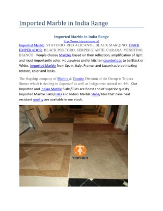 Imported Marble in India Range