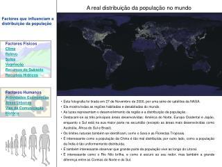 A real distribui  o da popula  o no mundo
