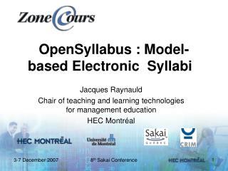 OpenSyllabus : Model-based Electronic  Syllabi