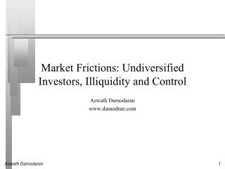 Market Frictions: Undiversified Investors, Illiquidity and Control