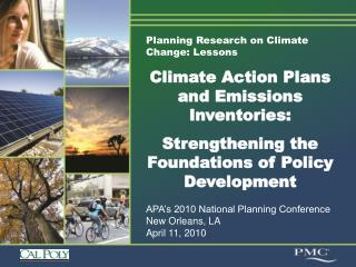 Planning Research on Climate Change: Lessons Climate Action Plans and Emissions Inventories: Strengthening the Foundatio