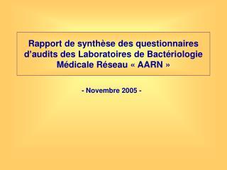 Rapport de synth se des questionnaires d audits des Laboratoires de Bact riologie M dicale R seau   AARN