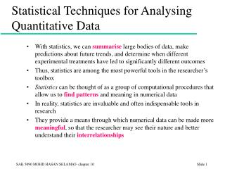Statistical Techniques for Analysing Quantitative Data